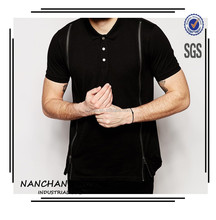 220 Grams Ribbed Collar Short Sleeve Men Longline Zips Custom Polo Shirt