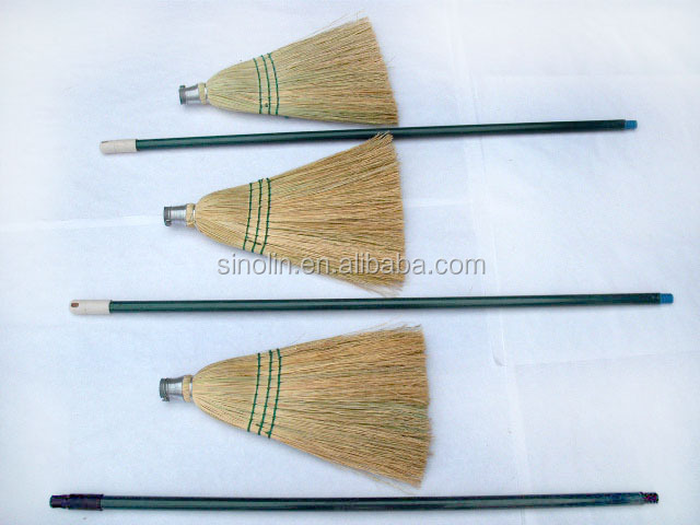 Natural Sorghum Straw Corn Broom With Wooden Handle For