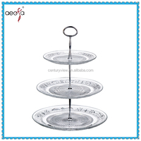 High quality 3tier clear glass wedding cake plates stand handle