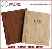 High quality wood leather small MOQ restaurant menu cover design