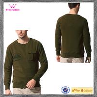 2015 Wholesale Crew Neck Sweatshirt with Front Pocket for Men