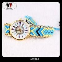 New Arrival Handmade Braided Friendship Bracelet Watches Women Geneva Weave Watches