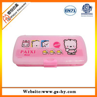 Cute pink kids pencil box with fancy color printing