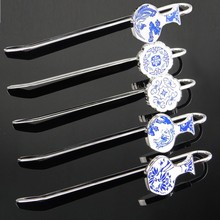 Classic Design Christmas Gift Many Style to Choose Chinese Style Blue and White Porcelain Metal Bookmark