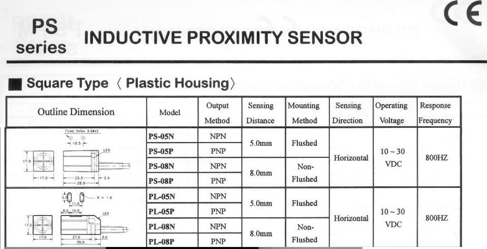 Pl 05n Dc10 30v 200ma Npn No 5mm Inductive Proximity Sensor