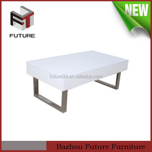 Adjustable height glossy lift top wooden coffee table