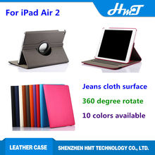 high quality 360 degree rotate leather case for iPad Air 2 ,stand leather case for iPad Air 2