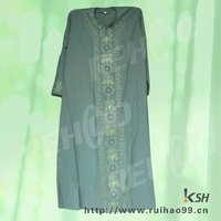 Line green fashion embroidery casual design muslim women clothing