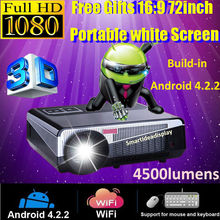 Free Gifts 72'' screen! New Full HD LED Multimedia android 4.2 Wifi Projector 4500 Lumens, Perfect For 3D Home cinema Projector
