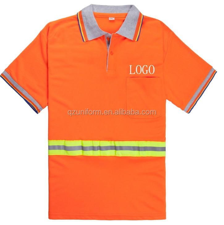 Custom dustman orange hi vis 3m reflective polo shirt for Custom hi vis shirts
