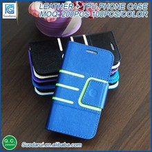 Mix colors OEM Leather+TPU Book stand wallet flip leather case for smartphone Cover