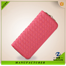 2015 new lady PU long style knit wallet , coin wallet