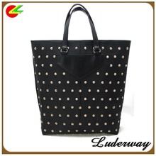 China handbags supplier.lady tote bags.girl leather handbag with rivet