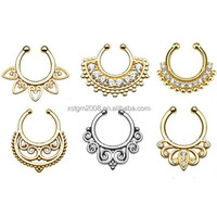 Superior quality indian non piercing septum fake nose ring