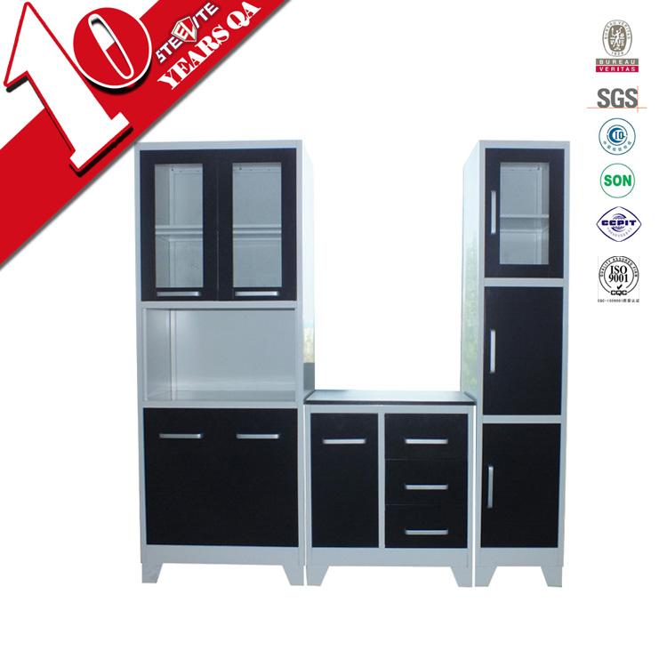High gloss factory price stainless steel kitchen pantry for Stainless steel kitchen cabinet price