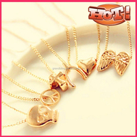 Free shipping wholesale gold plating promotional gift pendant necklace