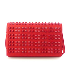 Handcee Simple Red PU Shoulder Bag For Office