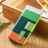 Multi color custom flip magnetic mobile phone case for phone 5 with hand strap
