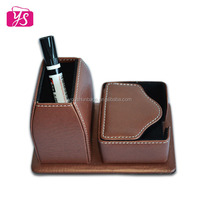Office Desk Decoration PU Leather Pen Holder with Card Organizer