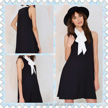 On Alibaba.com OEM Women Unlined Black Crepe Dress With Puss Bow Tie HSD8470