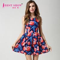 2015 Trendy Dress High Fashion Womens Clothing Europe And America Style Elegant Woman Printing Sexy Short Tight Mini Dress 1578
