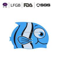 2015 cool swim caps designs fish pattern /funny silicone swim cap/ fashionable silicone swimming hat for swimming