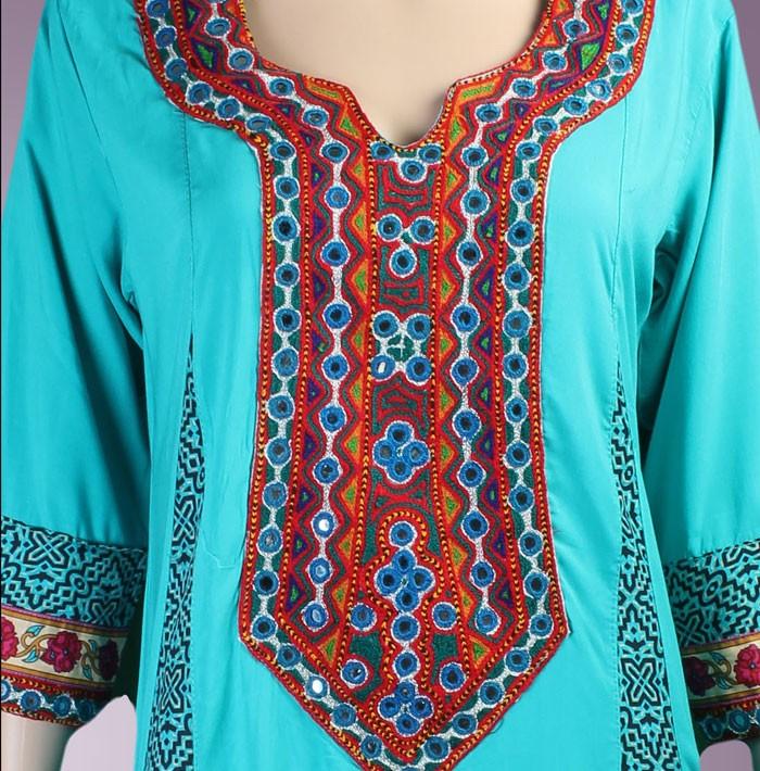 2014 cheap neck designs for ladies suit view neck designs