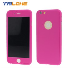 360 degree cell phone plastic cover for iphone 6 with glass screen protector