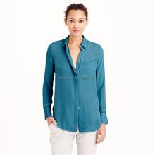 china OEM new models sand washed long-sleeved silk blouse