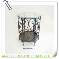 antique hexagon side table with glass top