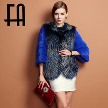 2015 FA real mink fur coat with fox fur winter coat patteren of the natural jacket