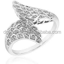 2015 fashion wing ring 316l stainless steel boho ring with diamonds