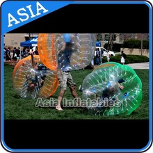 Beautiful half orange&green color body zorb ball on promottion for adults&kids, bubble soccer in hot require
