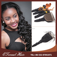 Cheap bouncy curl 16 inch virgin human hair 4*4 full lace closure bleached knots with baby hair