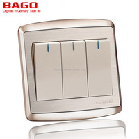 3 gang 1 way electric wall switch for home stainless steel panel