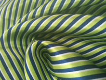 green printed stripe satin fabric for dress and scarf
