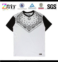 White t-shirt black sleeve/custom silk screen printing t-shirt/wholesale men's summer shirt