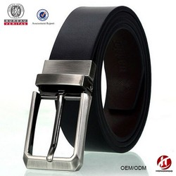 reversible zinc alloy pin buckles smooth black mens leather belt