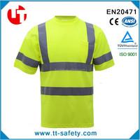 china yellow safety reflective short sleeve high visibility shirts wholesale