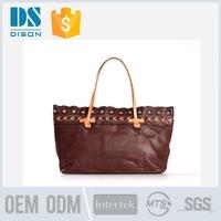 hot sale good feedback soft leather handbag with outside pockets