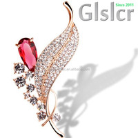 2015 promotion brand new high end crystal brooch, fresh Pure contracted fair maiden style crystal leaf brooch, Fashion Jewelry 6