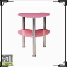 cheap two layers pink modern glass coffee table for sale