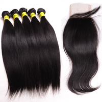 Brazilian Hair Bundles with Closure 100% Unprocessed Brazilian Straight Virgin Hair Free Part Lace Closure DHL Free Shipping