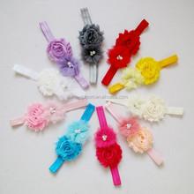 JP46 Hot sale mix color mesh fabric flower baby headband 2015