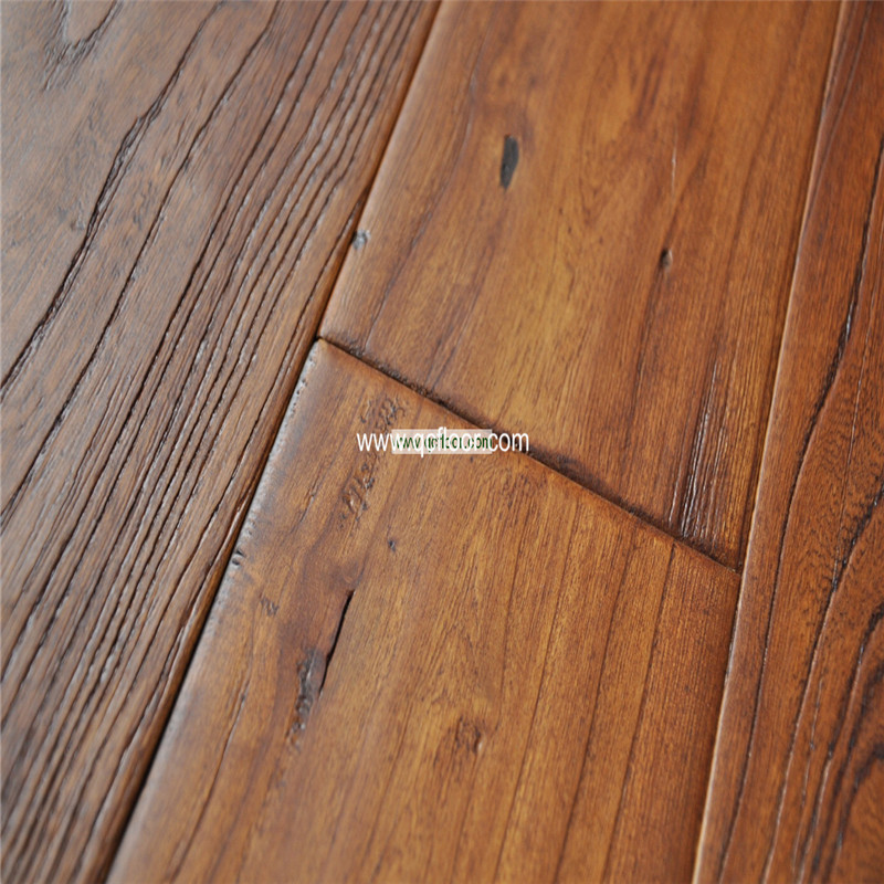 Handscraped brushed elm wood parquet flooring for sale for Purchase wood flooring