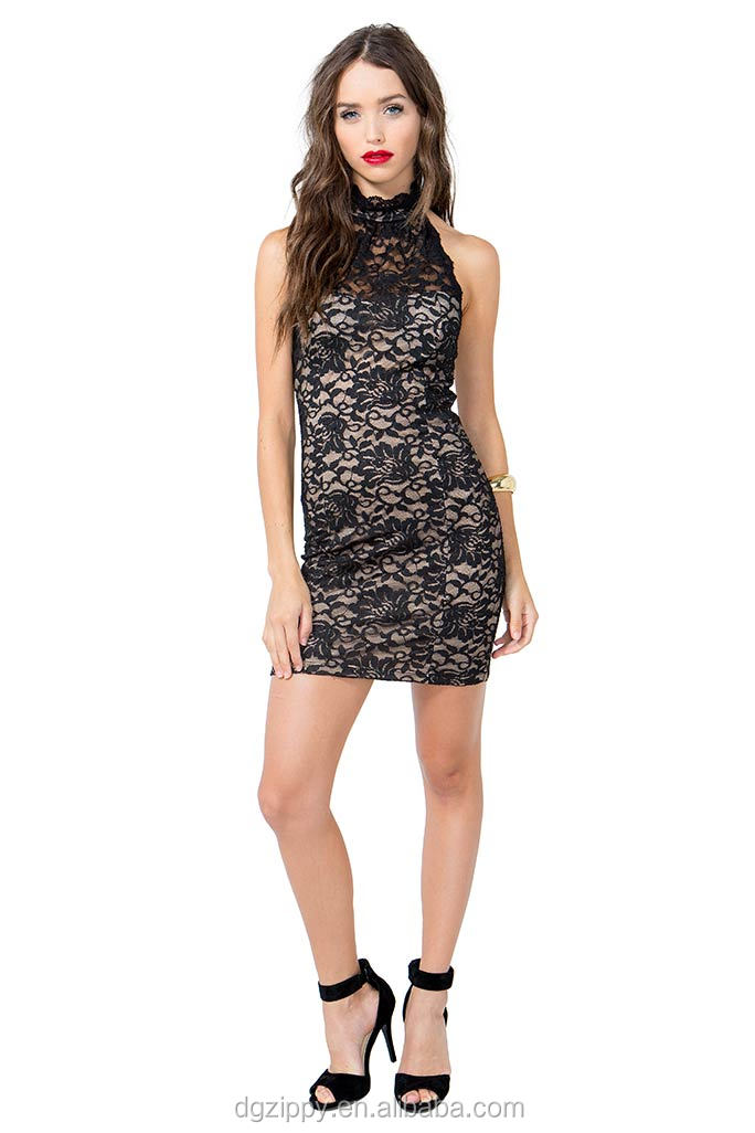 Sexy lace embroidered halter lady dress / Garment factory new ladies dress / Woman apparel lady fashion dress
