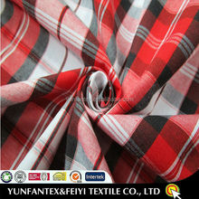 2015 latest design fashiopn soft Egyptian Cotton yarn dyed summer shirt poplin stripe beautiful lastest plaid red fabrics