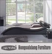 modern Black leather bed A040