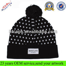 Mens knitted winter caps black acrylic pom funny knit winter cap