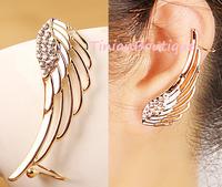 European and American fashion street shooting star diamond ear bones clip earrings the shape of angel wings